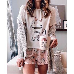 Coffee is my lover pj set shorts tee pajamas